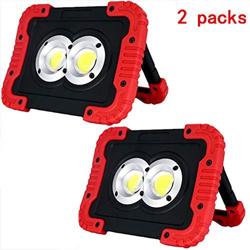 Luz de Trabajo LED, 800LM 20W Portátil Recargable Foco LED, 3 Modos, Resistente al Agua IP54, con Abrazadera con Imán Iluminación Led Exterior Iluminación para Taller Obra en Construcción