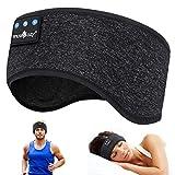WU-MINGLU Bluetooth pannband sovhörlurar, trådlös musik sport pannband headset sovande hörlurar för män, kvinnor med tunt och svalt tyg och justerbara hörlurar för löpning, yoga, Svart