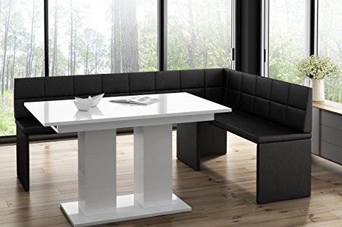 Panca ad angolo marta nera con tavolo a colonna bianco panca da cucina spessa imbottita ecopelle facile da pulire stabile struttura in legno 196x142r