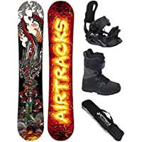 AIRTRACKS Snowboard Set - Tabla Dragon Soul Rocker 150 - Fijaciones Star - Botas Master QL 43 - SB Bolsa