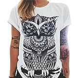 QHGstore Frauen Eule Buchstaben Augen Druck T Shirt Lose Normallack runder Ansatz Kurz sleeved T Shir