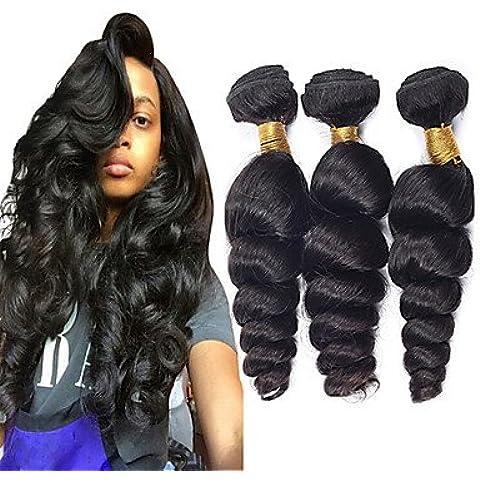 XQXHair 2016 Nuovo 7A grado 100% non trattati vergine peruviana dei capelli umani del tessuto Bundles onda allentata peruviana dei capelli ricci di estensioni 300g / pc Colore Naturale , 3pcs - Calore Trattato Capo