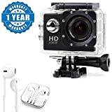 Captcha HD 1080p 12MP Waterproof Action Camera With Earpod With Mic, Sound Controller, Call Receiver And Call End Button Compatible With Xiaomi, Lenovo, Apple, Samsung, Sony, Oppo, Gionee, Vivo Smartphones (One Year Warranty)