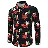Ropa de Navidad para Hombres Otoño Invierno Camiseta para Hombre Casual Manga Larga Negocio Ajustado Impresión Retro Negocio Botón Formal Blusa Tops Camisa de Hombre ZARLLE