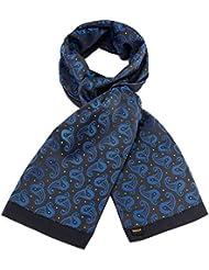 Mailando Herrenschal aus Kaschmir-Woll-Mix und Seide, Paisley Muster, sehr elegant, schwarz – blau