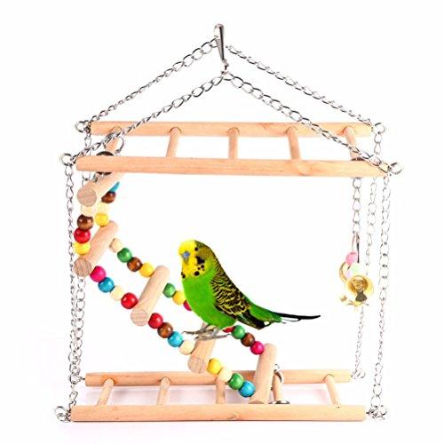 UEETEK Legno animale uccello giocattolo appeso arrampicata ponte Birdcage scaletta per parrocchetti uccello pappagallo Calopsitte addestramento dell'animale domestico (piccola taglia)
