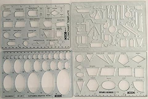Set von 4Ingenieur Schablonen Flow Diagramm, Ellipse, Geometrie & Chemie LAB Lineal Schablone Vorlagen