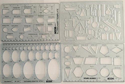 Set aus 4Ingenieur-Schablonen für Flow Charts, mit Ellipsen, geometrischen Formen & Chemielabor-Lineal