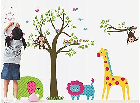 yYouran Cartoon Grand e sticker mural repositionnable Coloré Fleur Coloré