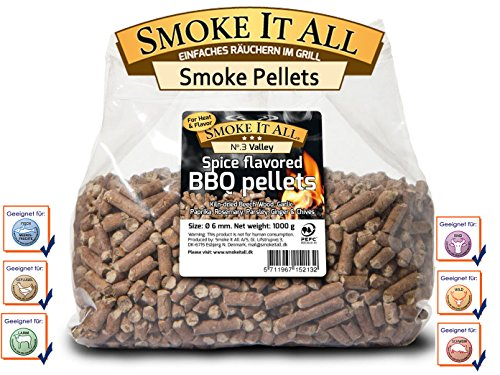 Smoke it all – pellet per barbecue, in legno di faggio con spezie, 1 kg, 61203