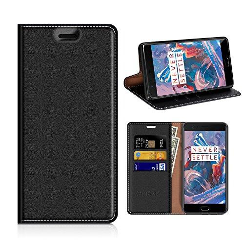 MOBESV OnePlus 3T Hülle Leder, Oneplus 3 Tasche Lederhülle/Wallet Case/Ledertasche Handyhülle/Schutzhülle mit Kartenfach für OnePlus 3T / OnePlus 3 - Schwarz