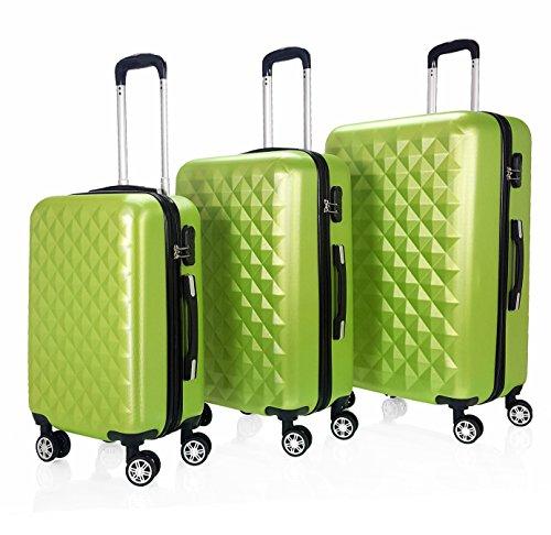 Reisekoffer QTC Kairo 2 M+L+XL 3´er Set Doppelrollen Hartschalen Koffer (Apfelgrün)