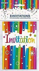 Unique Party- Invitaciones para Fiesta, 8 Unidades, Multicolor (49574)