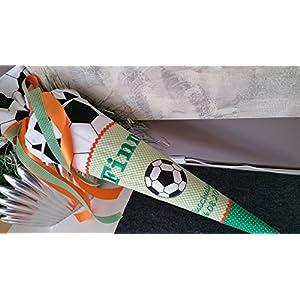 Fussball grün Schultüte Stoff + Papprohling + als Kissen verwendbar