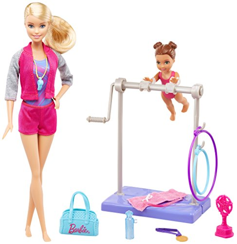 Barbie Playset Ginnasta, Sbarra interattiva e Piccola allieva, Multicolore, FKF75, Modelli/Colori Assortiti, 1 Pezzo