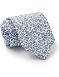 Savile Row Men's Blue White Yellow Fish Print Silk Tie
