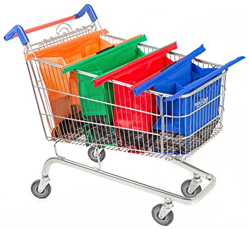 Trolley Bags 4 Sacs à Courses/Commissions avec Poignées Renforcées - Parfait pour Chariot