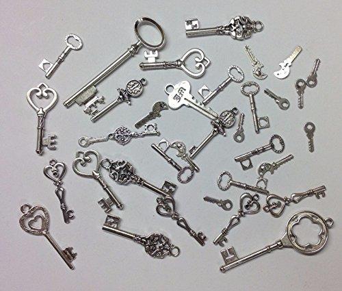 (Packung silberfarbener Schlüssel–Steampunk-Stil–verschiedene Größen, Charm-Anhänger für Schmuck oder Handwerk, silber, 100g)