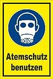 Schild - Gebots-zeichen - Atem-schutz benutzen - entspr. DIN ISO 7010 / ASR A1.3 – 15x10cm | stabile 3mm starke Aluminiumverbundplatte – S00361-034-C +++ in 20 Varianten