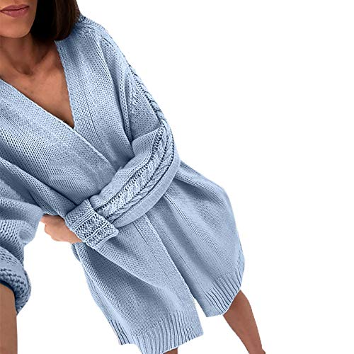 FeiBeauty Damen-Einfarbig Lange Stricken Twist Cardigan Jacke Pullover
