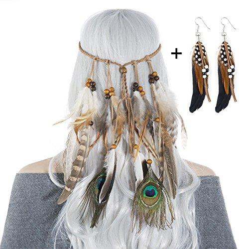 Indianer Stirnband, Czemo Indian Hippie Boho Feder Stirnband Tassel Haarband Pfauenfeder Stirnband für Damen