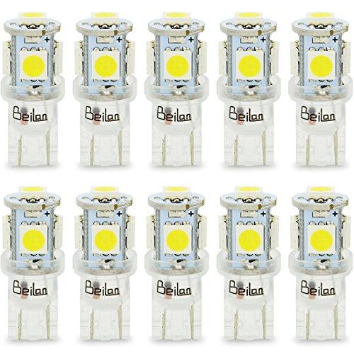 BeiLan T10 W5W 5-SMD 5050 Bombillas de luz LED para coche Wedge DC12V Súper luces blancas brillantes Lámparas de repuesto para interiores Lámparas de tablero de instrumentos Lámparas de matrícula 2825 175 192 168 194 (Paquete de 10)