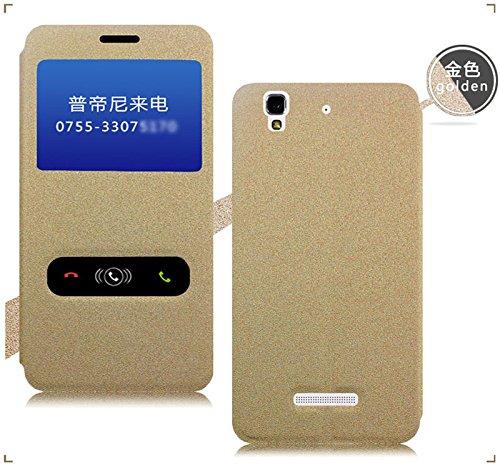 Pudini Rain Flip Cover Case For Micromax Yu Yureka - Gold - Free Screen Guard