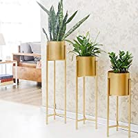 Weston Crafts Modern Metal Floor Flower Stands for Living Room Bedroom Display Plant Stand Tall Indoor Plant Stand with…