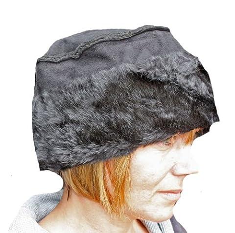 Ladies Suede Effect Cloche Hat With Faux Fur Trim Warm