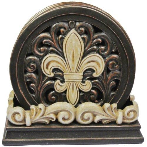 LL Home Fleur-De-Lis Carved Scrolls 4 Coaster Set by LL - Coaster De Fleur Lis Set