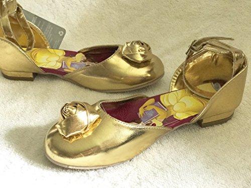 Disney, Die Schöne und das Biest, Belle Kostüm Schuhe für Mädchen / Kinder. Goldene formale Disney offizielle Schuhe. Größe UK 1 - EU (Patricks Day St Mädchen)