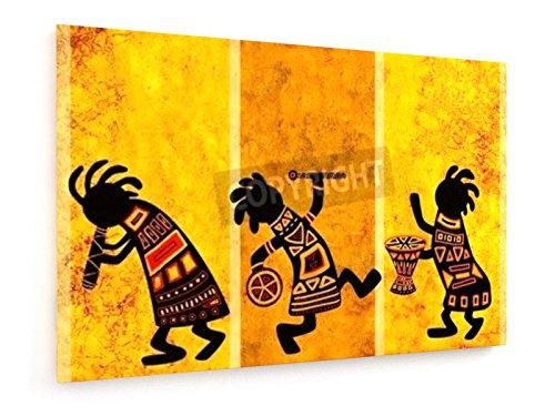 Natalia Lukiyanova - Tanzende afrikanische Musiker - 60x40 cm - Leinwandbild auf Keilrahmen - Wand-Bild - Kunst, Gemälde, Foto, Bild auf Leinwand - Tanzen/Musik -