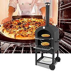 Four à Pizza d'extérieur Four à Pizza avec Roulettes et Poignée pour Mobile Four à Pizza avec Thermomètre Pelle et Pierre à Pizza Etagère de Rangement en Bas Four à Gâteau pour Jardin Extérieur