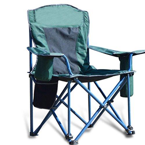 ZHEDIEYI Campingstühle Praktischer Handlauf-Getränkehalter Klappstühle 600D Gepolstertes Oxford Outdoor-Freizeit-Angelstühle Geeignet für Wandern Reisen Camping Beach, Grün