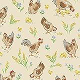 Huhn, Hühner taupe–RED07–0,5Meterware–von