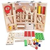 Zerama Legno Fai da Te Simulazione Portatile Toolbox Imposta Combinazione Finta Riparazione Toolkit Bambini Smontaggio del Giocattolo di Formazione