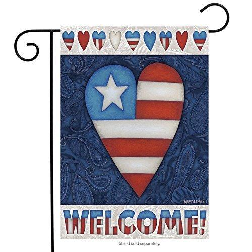 Patrioten Herz Welcome Garden Flagge 4. Juli Primitiv 31,8x 45,7cm