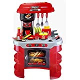 Toyshine Big Size Kitchen Set Toy With Music And Lights, Playing Accessories, Red