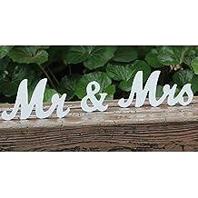 AmaJOY Vintage Mr & Mrs Letras de madera blancas para boda soporte de cartel figuras decoración de boda regalo hogar decoración