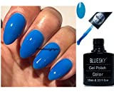 Blue Sky Neon 1Bleu fluo Vernis à ongles gel UV LED Soak Off 10ml Plus 2LuvliNail Shine Wipes