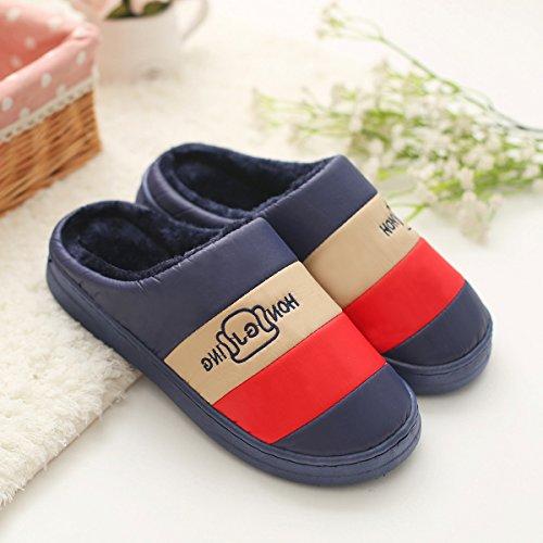 DogHaccd pantofole,Il cotone pantofole inverno la metà delle coppie con spesso rimanere a casa, resistente all'acqua anti-slittamento peluche caldo pantofole Blu scuro4