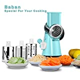 Mandoline Slicer Baban Vegetable Slicer Multi-function Food Slicer Manual Hand Speedy Safe Vegetables Chopper Cutter for Slices and Shreds Fruits and Potato Julienne Carrot Cheese Grater with 3 Round Stainless Steel Blades Blue