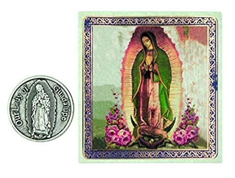 Our Lady of Guadalupe Marian Icon Medal 1 Inch Pocket Token with Holy Prayer Card by Ambrosiana