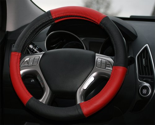 Lenkradbezug Leder schwarz rot Universal Lenkradhülle aus echtem Leder