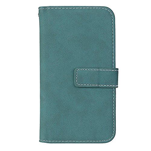 EKINHUI Case Cover Frosted Style Premium PU Leder Geldbörse Hülle Flip Stand Abdeckung Fall mit 9 Card Cash Slot für iPhone 6 & 6s ( Color : Beige ) Blue