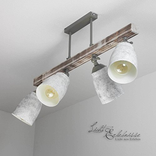 Raffinierte Deckenleuchte in Shabby Weiß Grau gemustert Vintage Stil 4x E27 bis zu 60 Watt 230V aus Metall & Holz Küche Esszimmer Lampen Leuchte innen Beleuchtung -