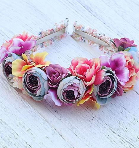 Fang-denghui, Wildflower Crown Blumen Stirnband EIN Haarband für Mädchen Kopf tragen Frauen Haarbänder Floral Stirnbänder Haarschmuck (Color -