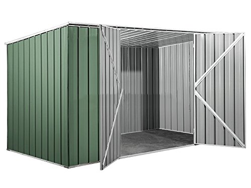 notek box in acciaio zincato casetta da giardino in lamiera 3.45 x 1.86 m x h1.92 m - 98 kg - 6 metri quadri - verde
