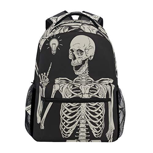 Lustige menschliche Skelett-Idee Rucksack Wasserdicht Schul-Schultertasche Gym Rucksack Skull Smile Crazy Art Design Laptop Tasche Outdoor Reise Tasche für Kinder Jungen Mädchen Damen Herren
