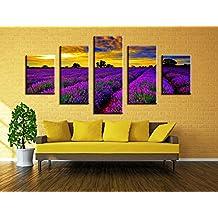 Wowdecor Bilder 5 Teilig Leinwand Malerei Drucke   Lila Lavendel Blumen  Bereich Sonnenuntergang Landschaft Giclee Home